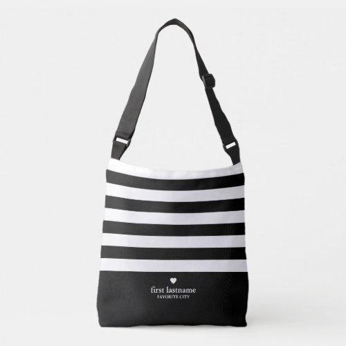 Modern Stripes with Upscale Heart Monogram - Black Crossbody Bag