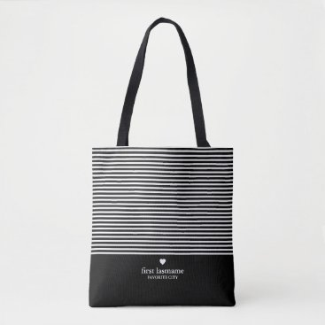 Modern Stripes with Upscale Heart Monogram Black Tote Bag