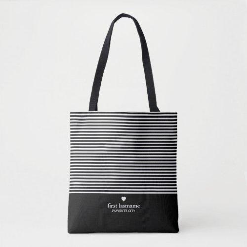 Modern Stripes with Upscale Heart Monogram Black Tote Bag