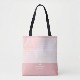 All-Over-Print Tote Bags - Modern Stripes with Upscale Heart Monogram Tote Bag