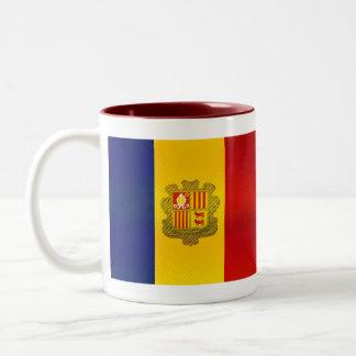 Modern Stripped Andorran flag Two-Tone Coffee Mug