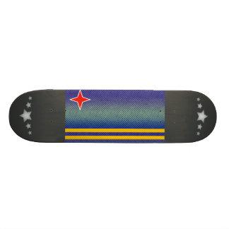 Modern Stripped Aruban flag Skateboard Deck