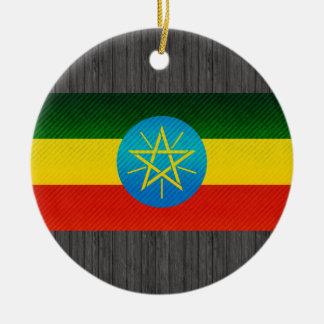 Modern Stripped Ethiopian flag Ceramic Ornament