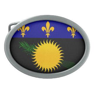 Modern Stripped Guadeloupean flag Oval Belt Buckles