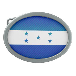 Modern Stripped Honduran flag Oval Belt Buckle