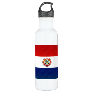 Modern Stripped Paraguayan flag Stainless Steel Water Bottle