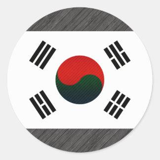 Modern Stripped South Korean flag Round Stickers