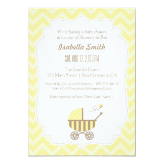 Modern Stroller and Bee Baby Shower Invitations