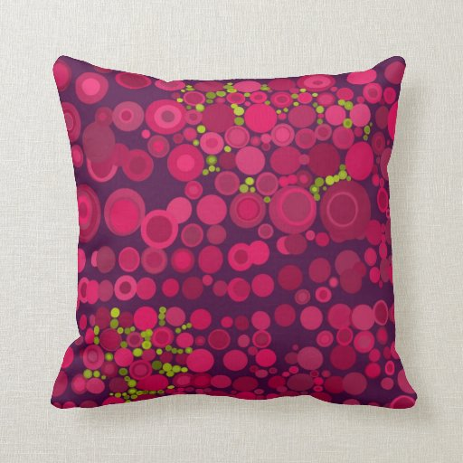 Modern Style Abstract Dots Deep Pink Cushions