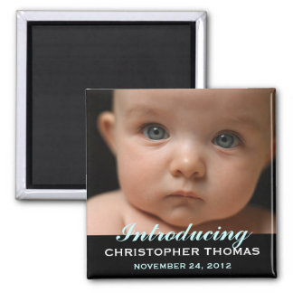 Modern Style Baby Birth Announcement Photo 2 Inch Square Magnet