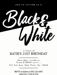 Modern Style Black And White Party Invitations
