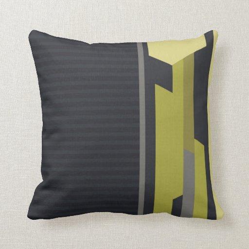 Modern Style Charcoal Pinstripe Green Cushions