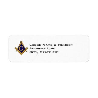Modern Style Masonic Lodge Address Label