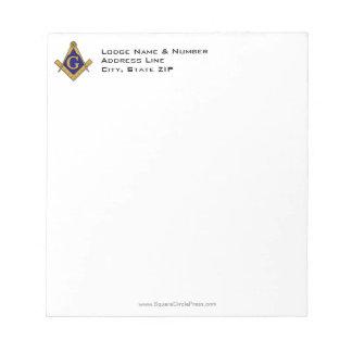 Modern Style Masonic Lodge Notepad