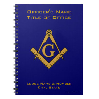 Modern Style Masonic Lodge Officer's Notebook