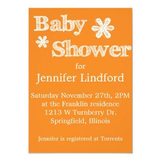 Modern Style Orange Baby Shower Invitations