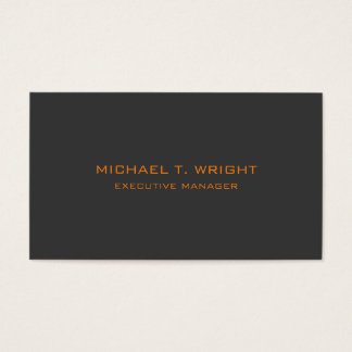 Modern Style Plain Simple Grey Orange Professional Business Card