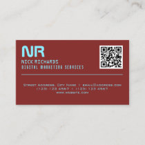 Modern style professional red sky blue business card