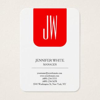 Modern style trendy plain white red monogram business card