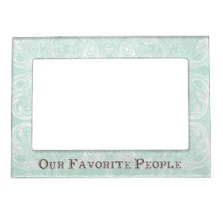 Modern Style Vintage Damask Lace Look - Aqua Blue Magnetic Picture Frames