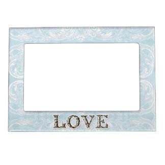 Modern Style Vintage Damask Lace Look - Baby Blue Picture Frame Magnets