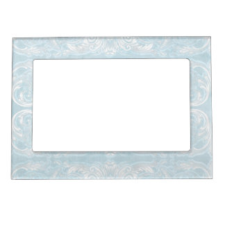 Modern Style Vintage Damask Lace Look - Baby Blue Picture Frame Magnet