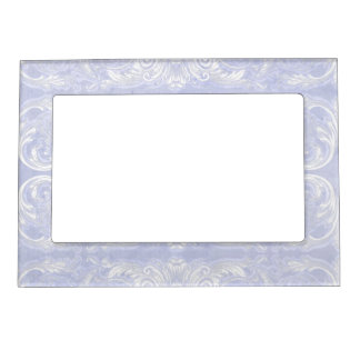 Modern Style Vintage Damask Lace Look - Baby Blue Magnetic Picture Frame