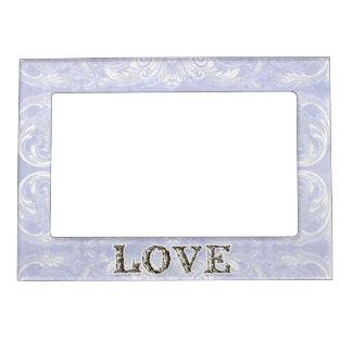 Modern Style Vintage Damask Lace Look - Blue Photo Frame Magnet