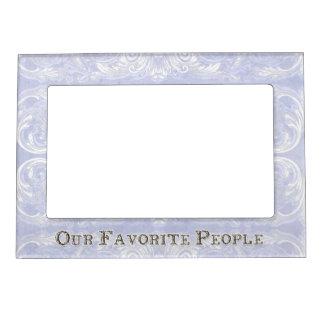 Modern Style Vintage Damask Lace Look - Blue Photo Frame Magnets