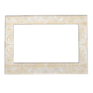 Modern Style Vintage Damask Lace Look - Cream Tan Magnetic Frames