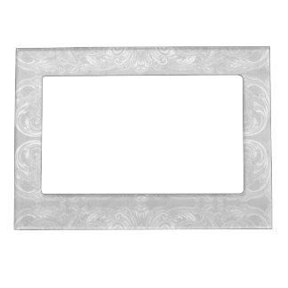 Modern Style Vintage Damask Lace Look - Dove Grey Magnetic Photo Frames
