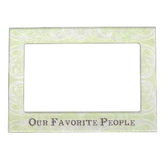 Modern Style Vintage Damask Lace Look - Green Magnetic Picture Frame