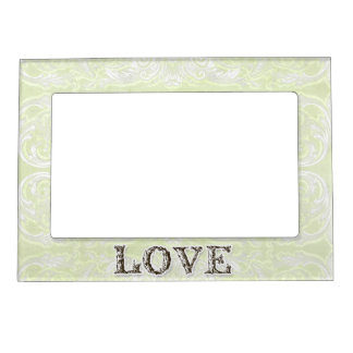 Modern Style Vintage Damask Lace Look - Green Magnetic Photo Frame