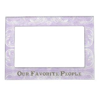 Modern Style Vintage Damask Lace Look - Lavender Photo Frame Magnets