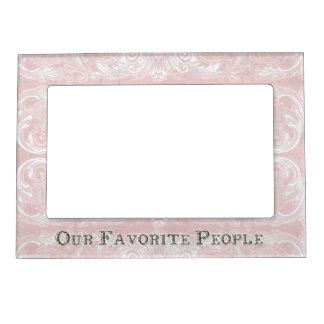 Modern Style Vintage Damask Lace Look - Lavender Picture Frame Magnets