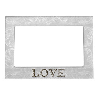 Modern Style Vintage Damask Lace Look - Tan Magnetic Photo Frame