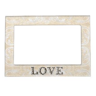 Modern Style Vintage Damask Lace Look - Tan Picture Frame Magnets