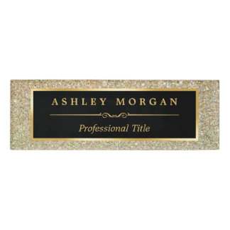 Modern Stylish and Fashionable Beauty Gold Glitter Name Tag