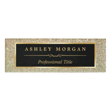 CardHunter Modern Stylish and Fashionable Beauty Gold Glitter Name Tag