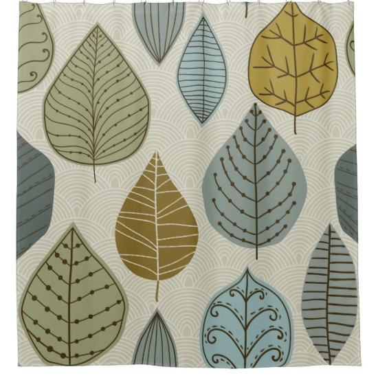 Modern & Stylish Autumn Falling Leaves Floral Shower Curtain