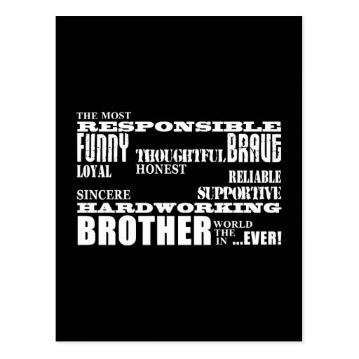 Modern Stylish Best & Greatest Brothers  Qualities Post Cards