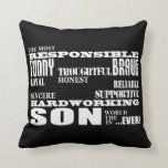 Modern Stylish Best & Greatest Sons : Qualities Throw Pillow