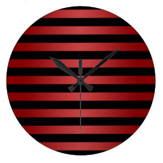 Modern Stylish Black and Red Stripes Pattern Wallclocks