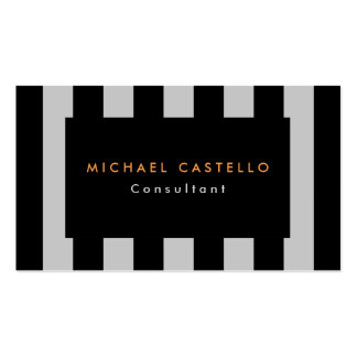 Modern Stylish Black Gray Striped Professional Business Card