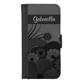 Modern Stylish Black Hibiscus Floral Gothic iPhone 8/7 Wallet Case