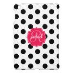 Modern Stylish Black & White Dots Pink Monogram Cover For The iPad Mini