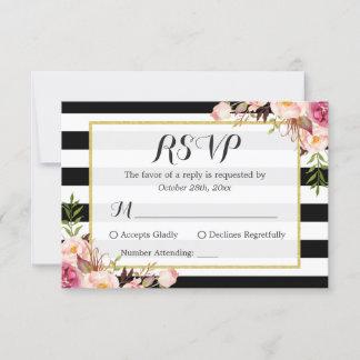 Modern Stylish Black White Stripes Floral RSVP