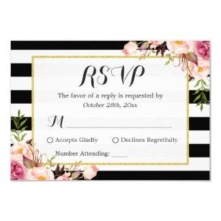 Modern Stylish Black White Stripes Floral RSVP Card