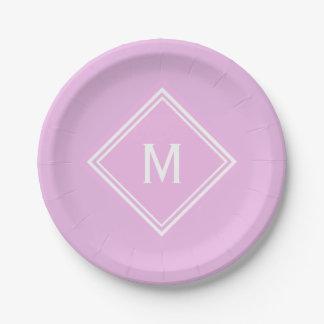 Modern Stylish Bubblegum Pink Custom Monogram Paper Plate