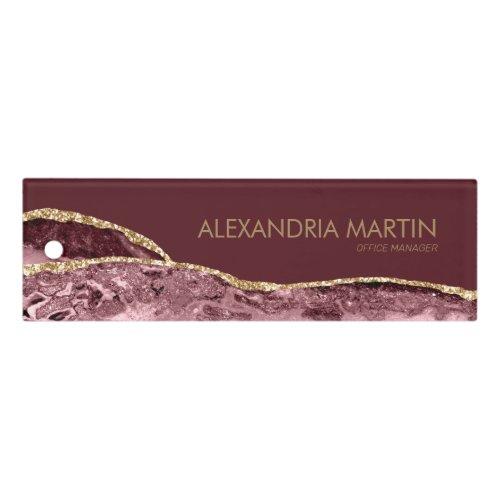 Modern Stylish Burgundy Pink Gold Glitter Marble Ruler